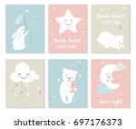 scandinavian style nursery... | Shutterstock .eps vector #697176373