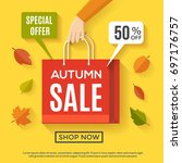 fall sale poster design with... | Shutterstock .eps vector #697176757