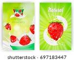 milk ad or 3d strawberry yogurt ...   Shutterstock .eps vector #697183447