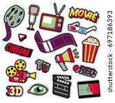 cinema film television patches  ... | Shutterstock .eps vector #697186393