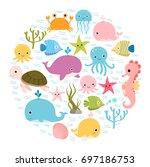 cute colorful cartoon sea... | Shutterstock .eps vector #697186753
