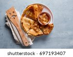 traditional pancakes with apple ... | Shutterstock . vector #697193407