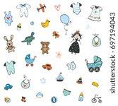 baby shower design elements set.... | Shutterstock .eps vector #697194043