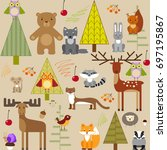 cute forest animals on light... | Shutterstock .eps vector #697195867