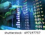 stock market graph analysis for ... | Shutterstock . vector #697197757