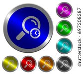query time icons on round... | Shutterstock .eps vector #697208287