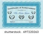 light blue sample certificate... | Shutterstock .eps vector #697220263