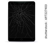 broken tablet computer vector...   Shutterstock .eps vector #697227403