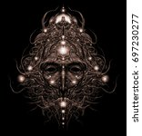 the head of the cosmic shaman ... | Shutterstock . vector #697230277