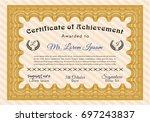 orange sample diploma. elegant... | Shutterstock .eps vector #697243837