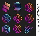 isolated line art logos... | Shutterstock .eps vector #697248613