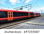 nsb train   kongsvinger  norway ...   Shutterstock . vector #697255087
