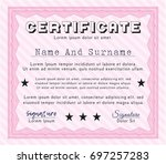 pink certificate diploma or... | Shutterstock .eps vector #697257283