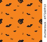 happy halloween pattern with... | Shutterstock .eps vector #697260913