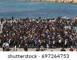 lampedusa italia  march 26 ...   Shutterstock . vector #697264753