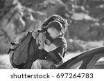 side black and white photo of... | Shutterstock . vector #697264783