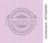 homeopathy realistic pink emblem | Shutterstock .eps vector #697266583