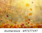 autumn leaves background | Shutterstock . vector #697277197