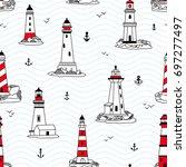 vector lighthouses seamless...   Shutterstock .eps vector #697277497