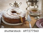 homemade cake with tea in a... | Shutterstock . vector #697277563