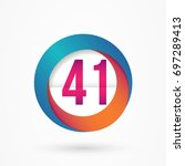 stylized number 41 design... | Shutterstock .eps vector #697289413