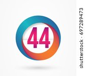 stylized number 44 design... | Shutterstock .eps vector #697289473