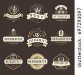 oktoberfest celebration beer... | Shutterstock .eps vector #697293097