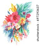 abstract floral watercolor... | Shutterstock . vector #697293637
