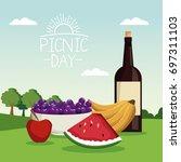 colorful poster scene landscape ...   Shutterstock .eps vector #697311103