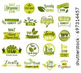 set of hand drawn stickers ... | Shutterstock .eps vector #697314457