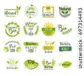 set of hand drawn stickers ... | Shutterstock .eps vector #697314493