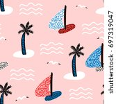seamless pattern with sailboats.... | Shutterstock .eps vector #697319047