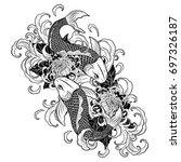 koi fish and chrysanthemum...   Shutterstock .eps vector #697326187