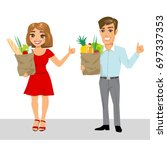 happy family and organic... | Shutterstock .eps vector #697337353
