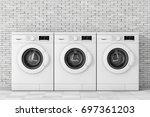 row of modern washing machines... | Shutterstock . vector #697361203