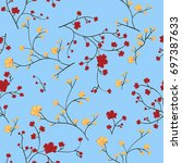 seamless floral pattern with... | Shutterstock .eps vector #697387633