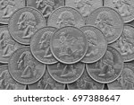 massachusetts state and coins... | Shutterstock . vector #697388647