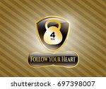 gold badge with 4kg kettlebell ...   Shutterstock .eps vector #697398007
