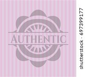 authentic badge with pink... | Shutterstock .eps vector #697399177