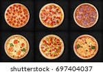 six different pizza set for... | Shutterstock . vector #697404037