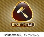golden badge with roller brush ...   Shutterstock .eps vector #697407673