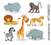 african animals cartoon set.... | Shutterstock .eps vector #697408033