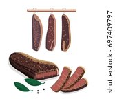 south african biltong  ... | Shutterstock .eps vector #697409797