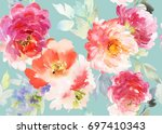 seamless summer pattern with... | Shutterstock . vector #697410343