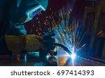 welder  craftsman  erecting... | Shutterstock . vector #697414393