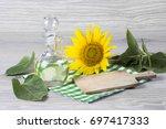 sunflower seeds and oil | Shutterstock . vector #697417333