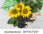 sunflower seeds | Shutterstock . vector #697417357