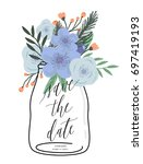 save the date. wedding floral... | Shutterstock .eps vector #697419193