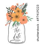 save the date. wedding floral... | Shutterstock .eps vector #697419223