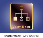 gold badge with flowchart icon ...   Shutterstock .eps vector #697420843